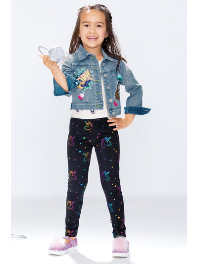 Girls Rainbow Foil Unicorn Leggings  blk alt1