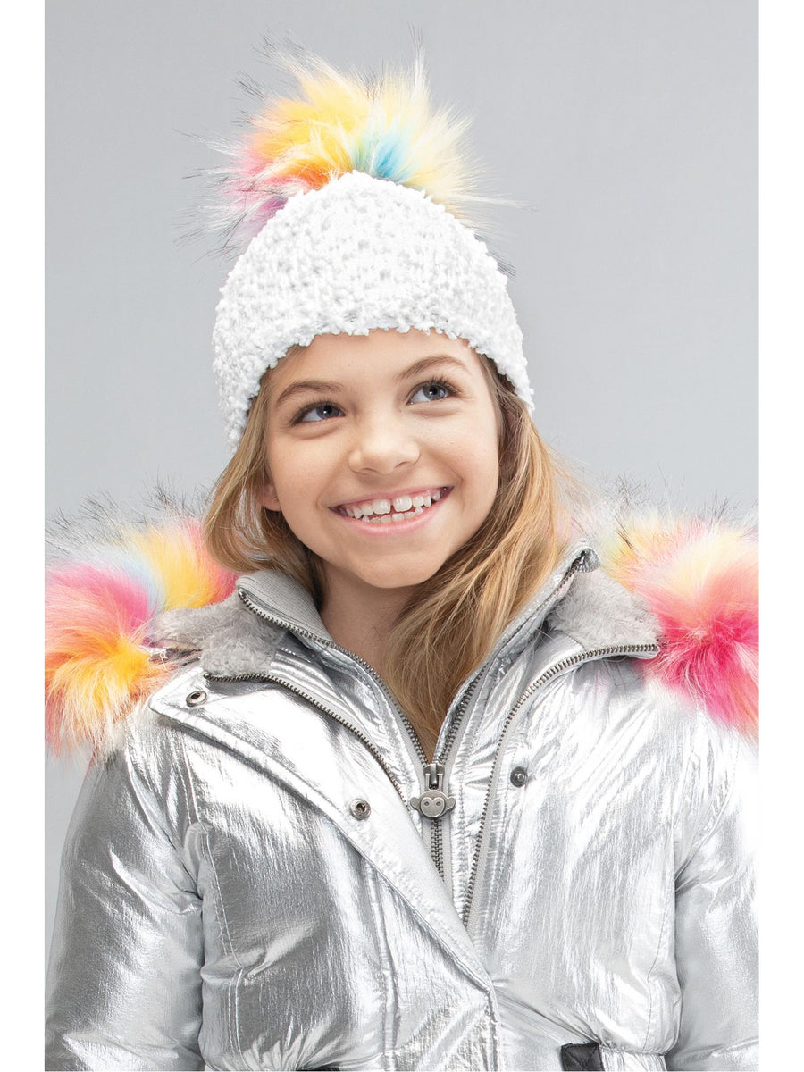 Girls Rainbow Pom Pom Hat
