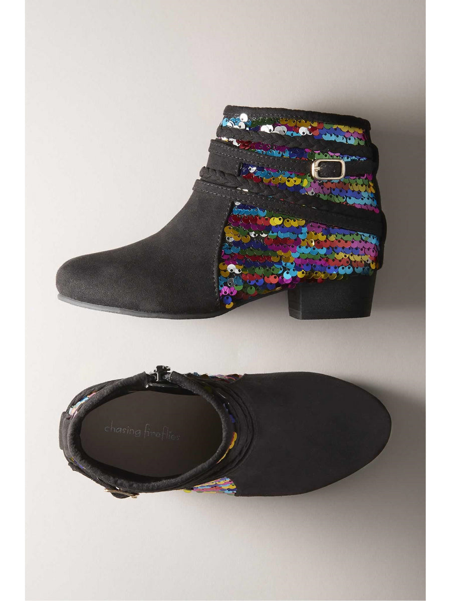 Girls Rainbow Sequin Booties