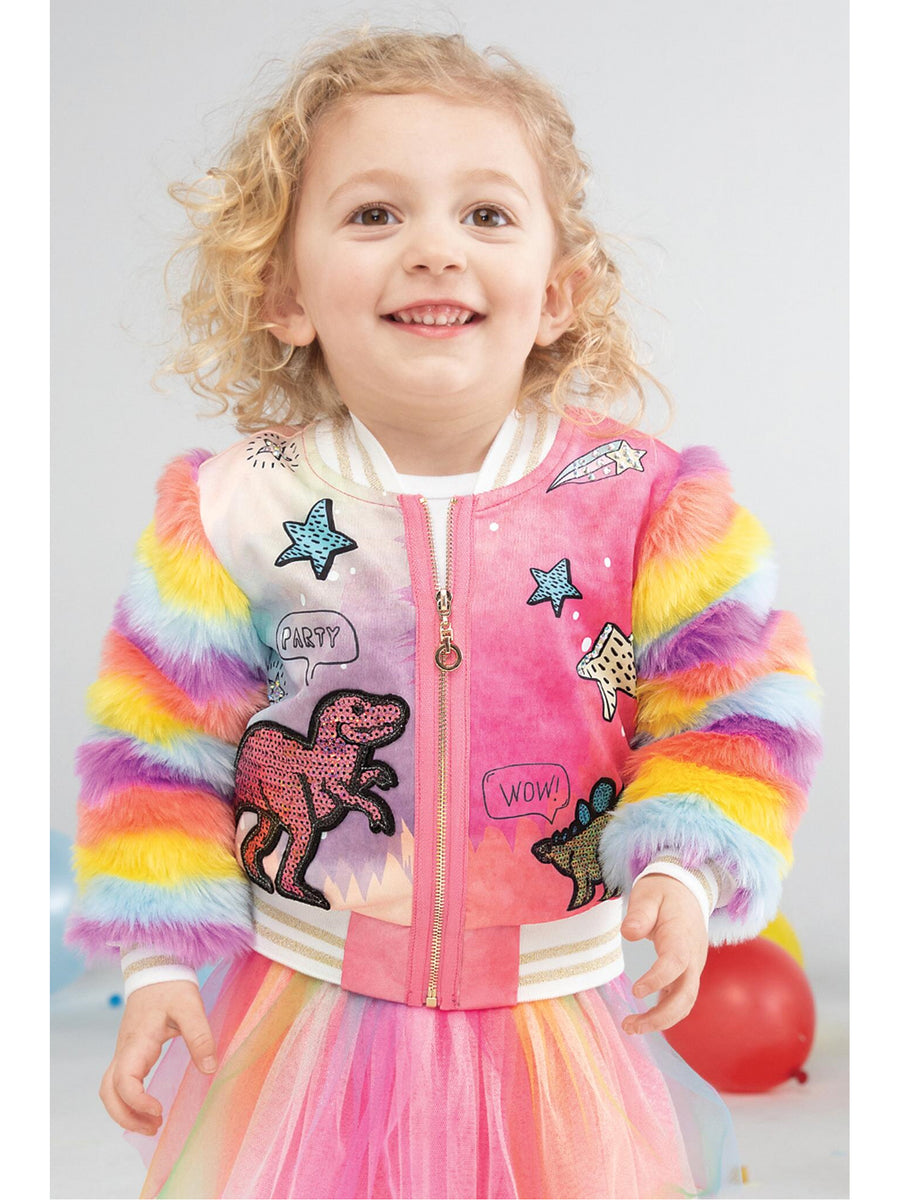 Girls Rainbow Sleeve Bomber Jacket