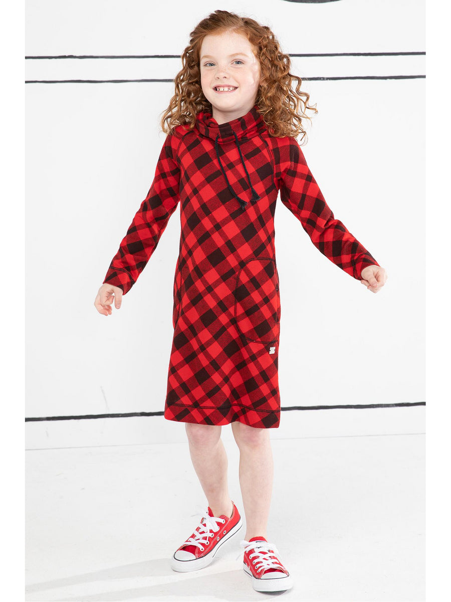 Girls Red & Black Checkered Dress