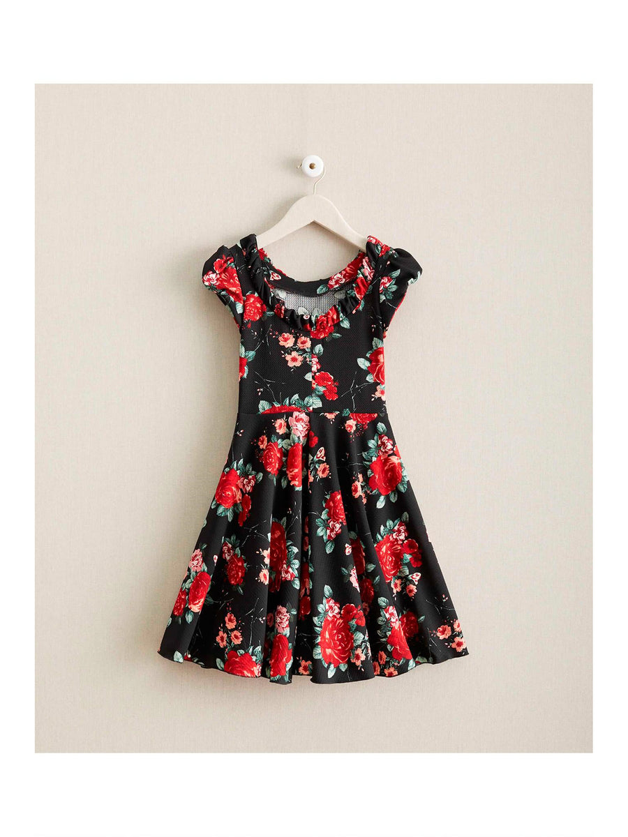 Girls Red Roses Knit Dress