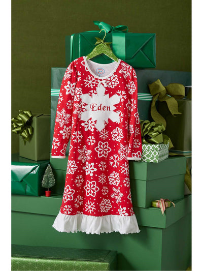 Girls Red Snowflake Nightgown  red alt1