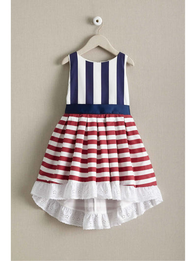 Girls Red White & Stripes Dress