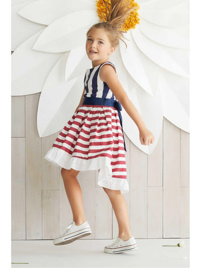 Girls Red White & Stripes Dress  rwb alt1