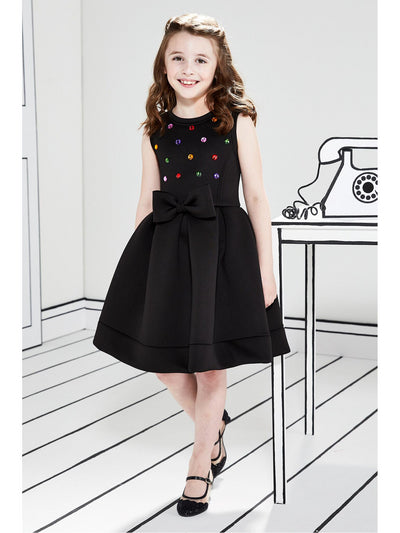 Girls Rhinestones & Bow Neoprene Dress