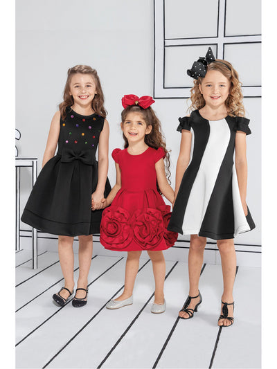 Girls Rhinestones & Bow Neoprene Dress  bby alt1