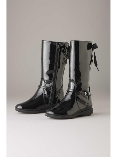 Girls Ribbon Patent Boots