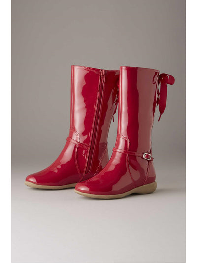 Girls Ribbon Patent Boots  red 1