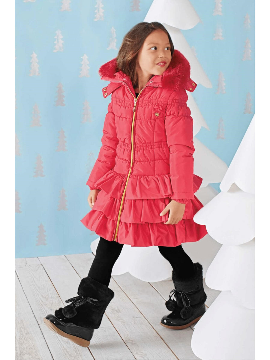 Girls Ring-of-ruffles Puffer Coat