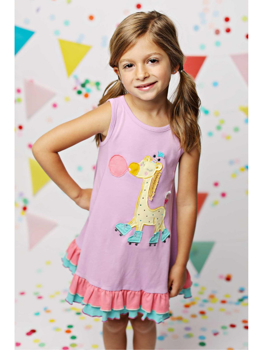 Girls Rollerskating Giraffe Dress