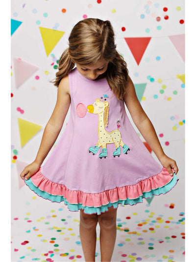 Girls Rollerskating Giraffe Dress  vio alt2