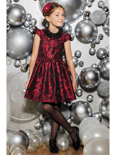 Girls Rose Brocade Dress  red alt1
