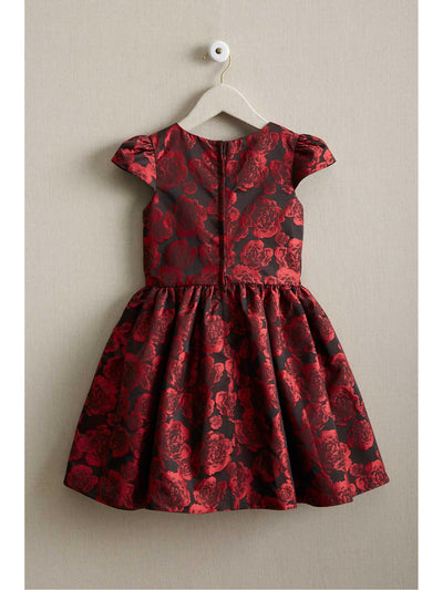 Girls Rose Brocade Dress  red alt2