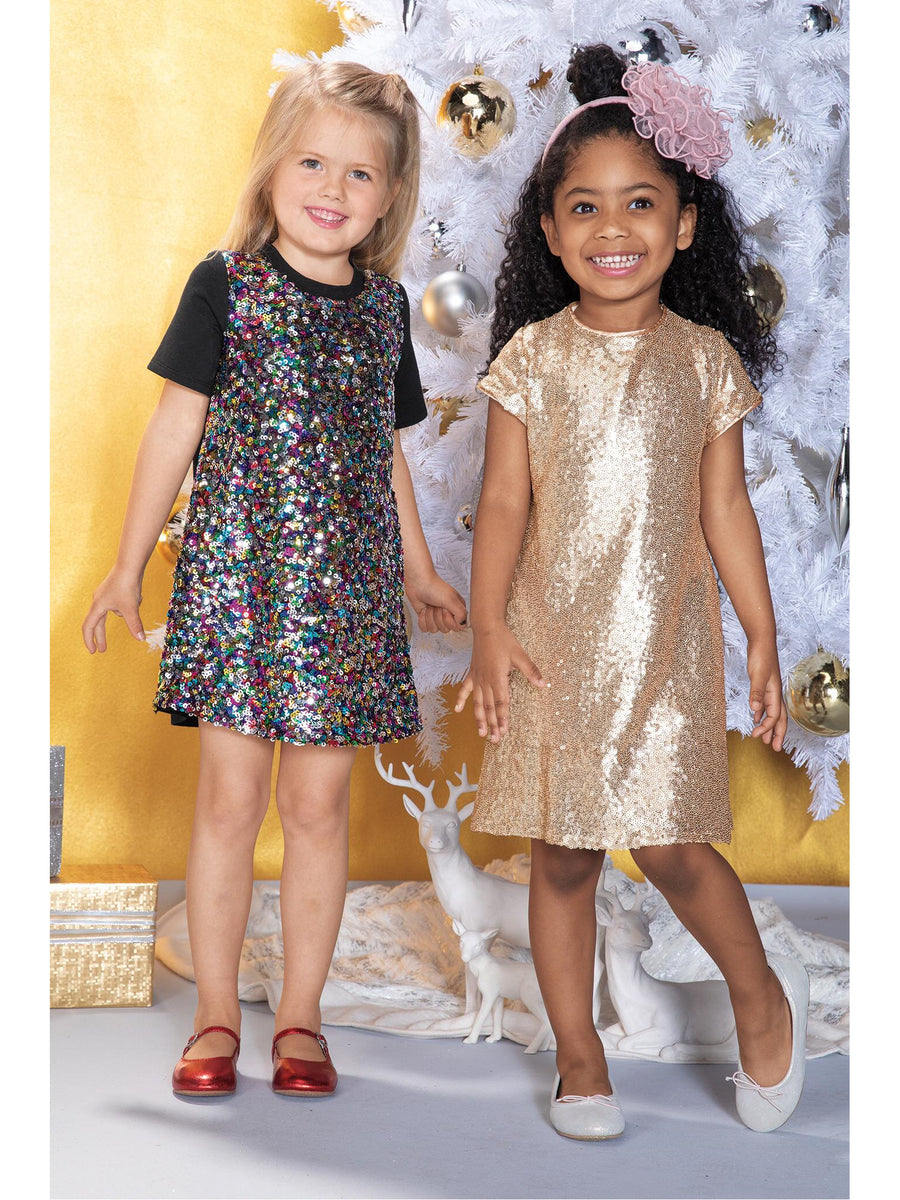 Girls Rose Gold Sequin Dress