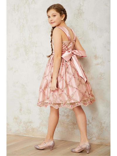 Girls Rose Lattice Dress