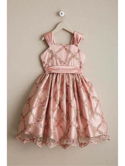 Girls Rose Lattice Dress  pin alt1