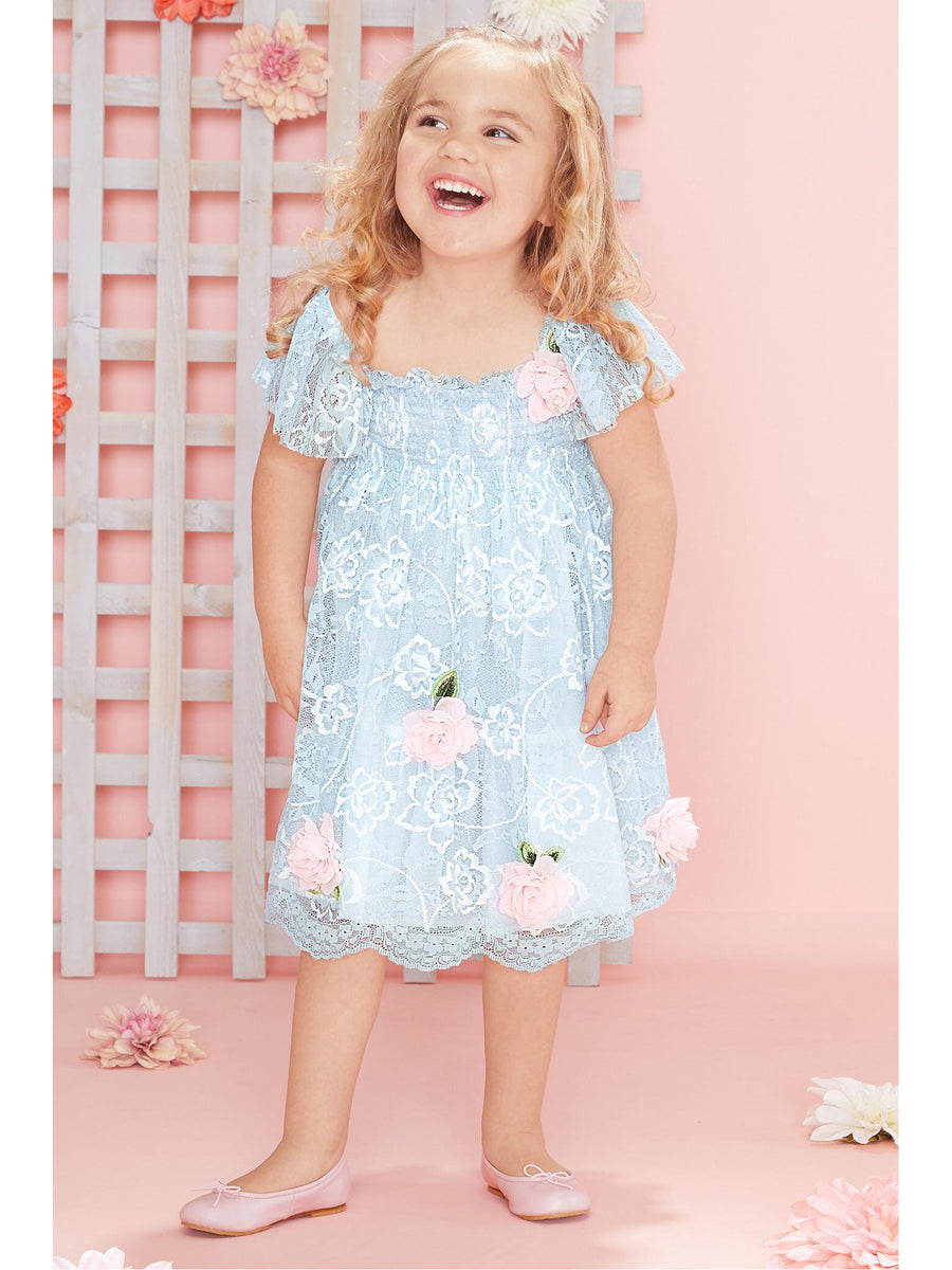 Girls Roses in Bloom Lace Dress