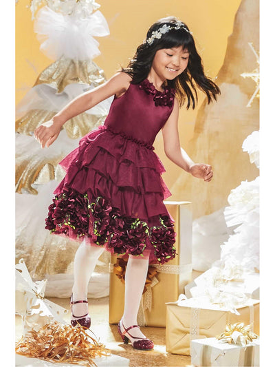 Girls Royal Ruffles Dress  bur alt1