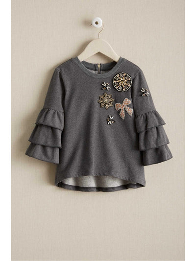 Girls Ruffle Sleeve Jeweled Sweatshirt