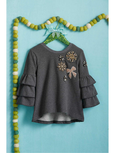 Girls Ruffle Sleeve Jeweled Sweatshirt  cha alt2