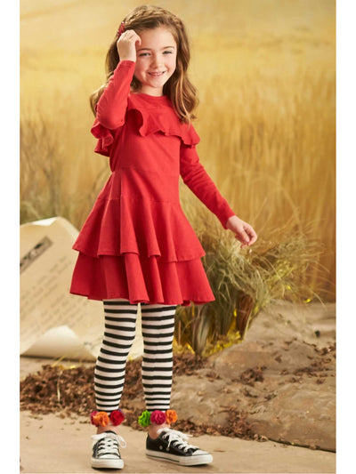 Girls Ruffle Yoke Dress  red 1