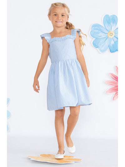 Girls Ruffled Bow Back Seersucker Dress