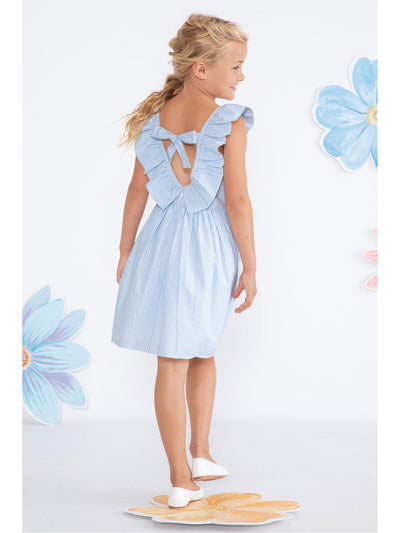 Girls Ruffled Bow Back Seersucker Dress  lbl alt1