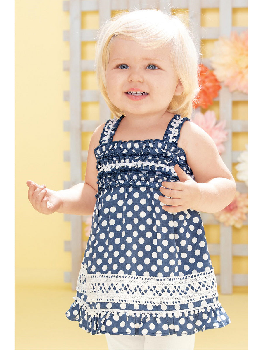 Girls Ruffled Polka Dot Tunic