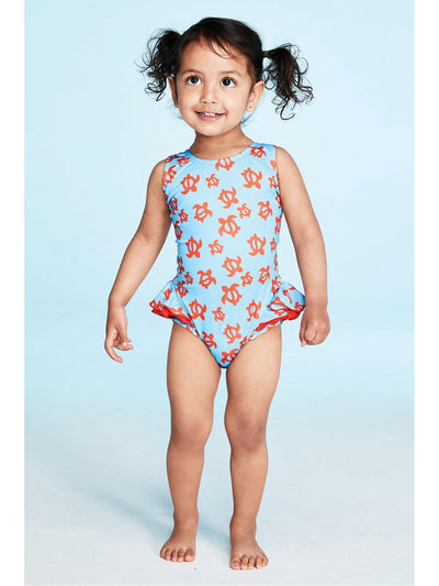 Girls Ruffles & Turtles Swimsuit