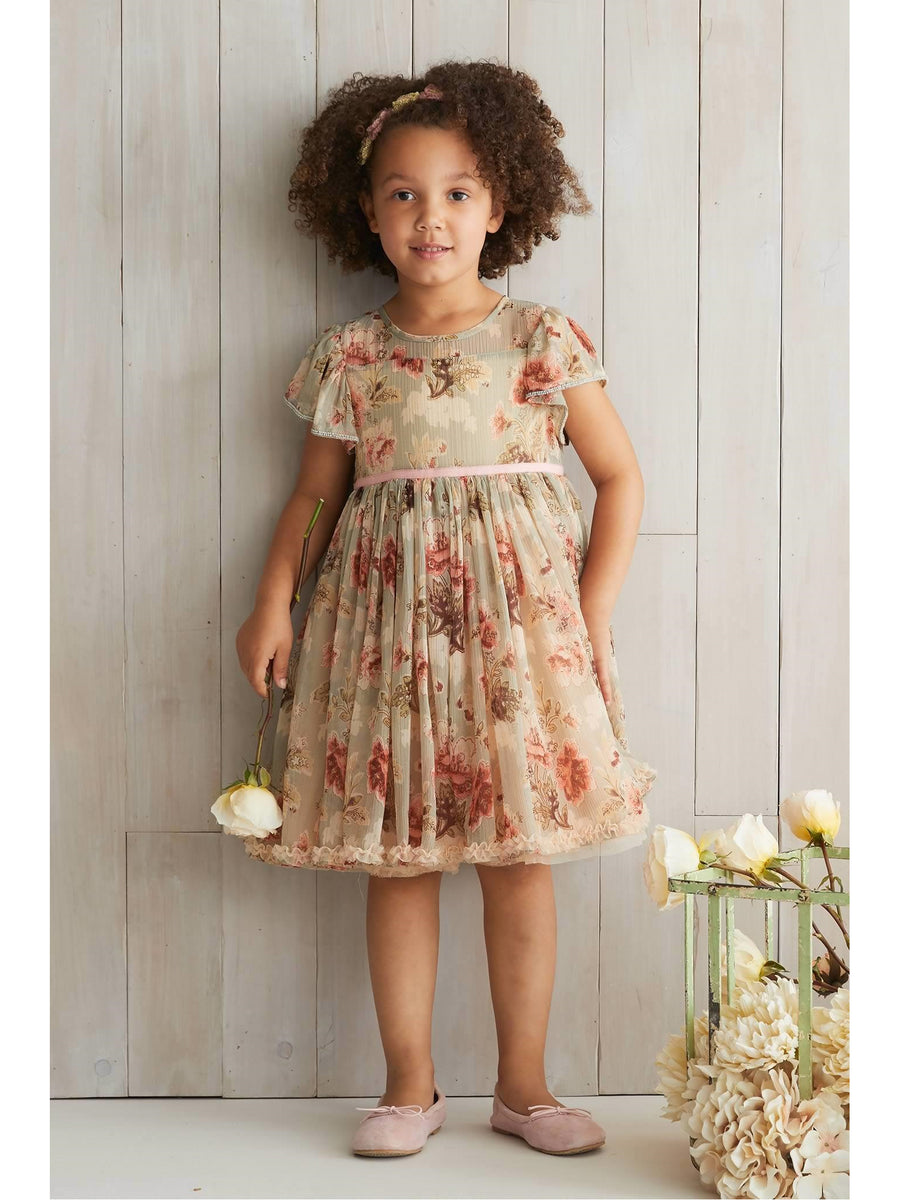 Girls Sage Floral Dress