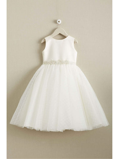 Girls Satin & Lattice Tulle Dress