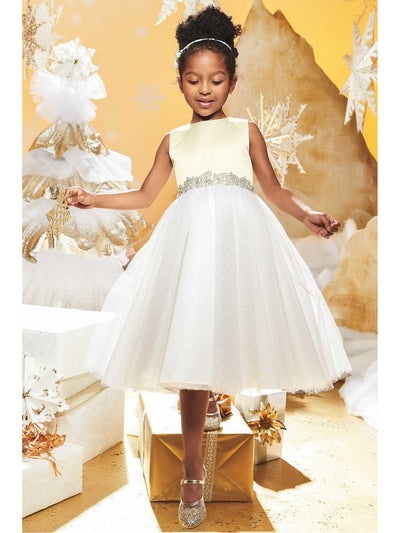 Girls Satin & Lattice Tulle Dress  ivo alt1