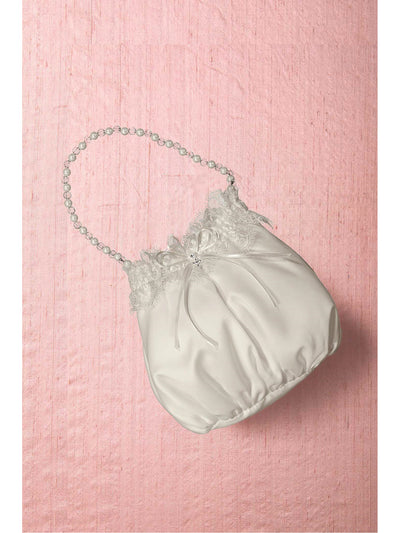 Girls Satin Bag with Pearl Beaded Handle