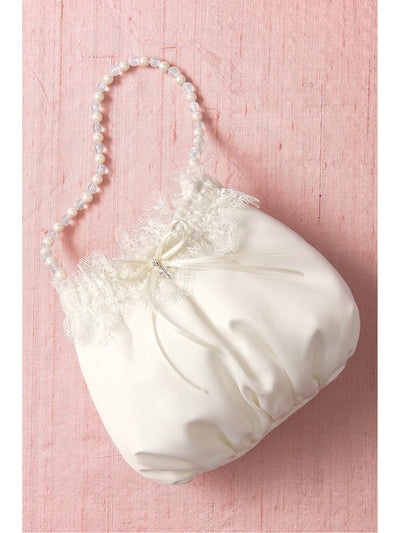 Girls Satin Bag with Pearl Beaded Handle  wht 1
