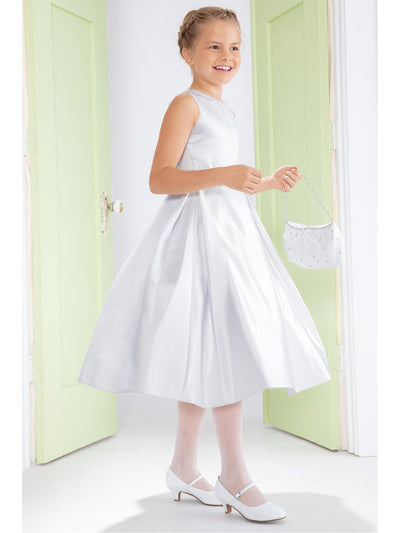 Girls Satin Bow-Back Dress
