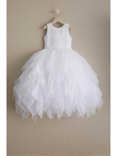 Girls Scallop Beaded Bodice Dress  whi alt1
