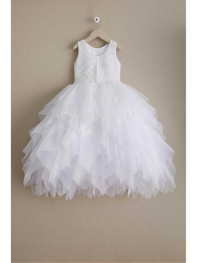 Girls Scallop Beaded Bodice Dress  whi alt2