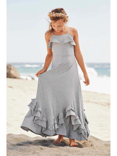 Girls Scallop Ruffle Maxi Dress  hgr alt1