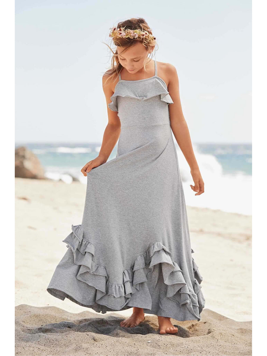 Girls Scallop Ruffle Maxi Dress