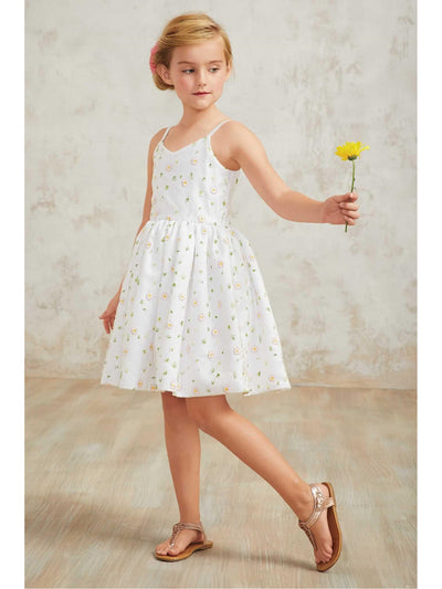 Girls Scattered Flowers Dress  whi alt1