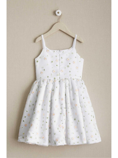 Girls Scattered Flowers Dress  whi alt2
