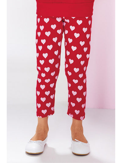 Girls Scribble Hearts Capri Leggings