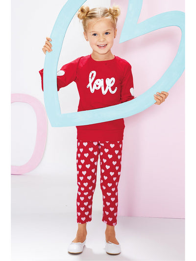 Girls Scribble Hearts Capri Leggings  red alt1