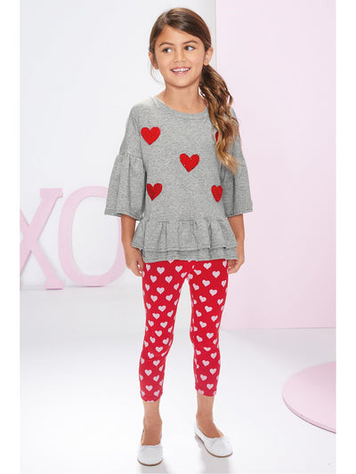 Girls Scribble Hearts Capri Leggings  red alt2
