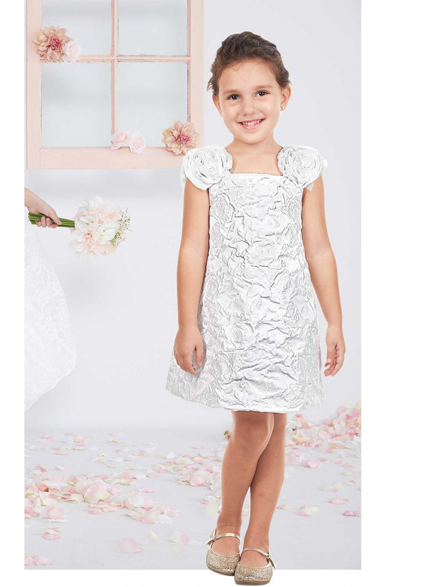 Girls Sculptural White Roses Dress