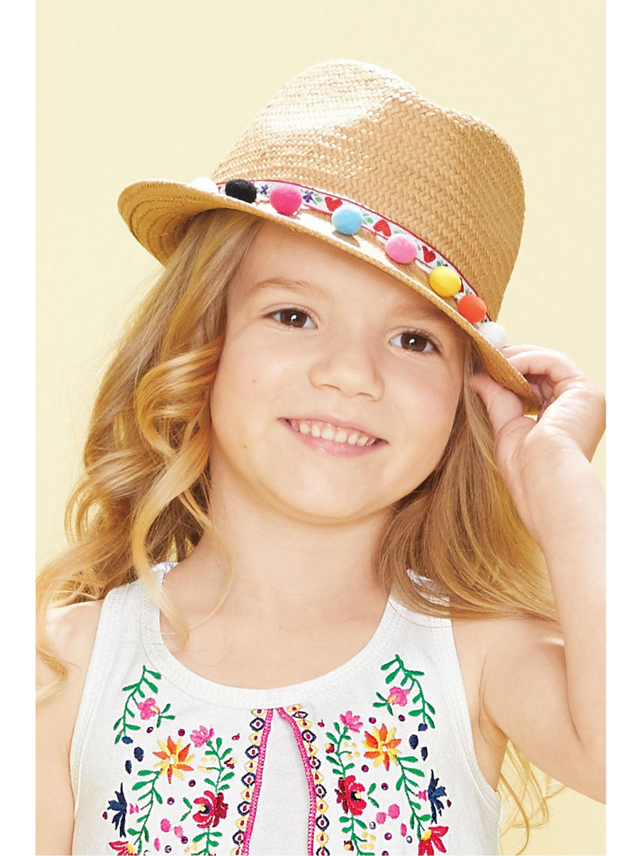 Girls Sedona Pom Pom Trim Hat