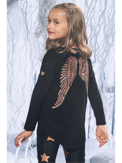 Girls Sequin Angel Wings Slouch Top