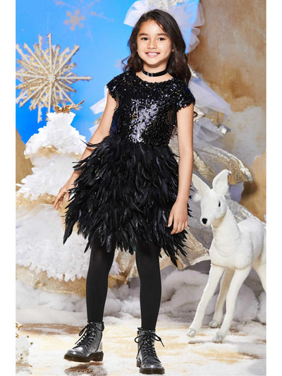 Girls Sequin Bodice Feather Dress  bla alt1