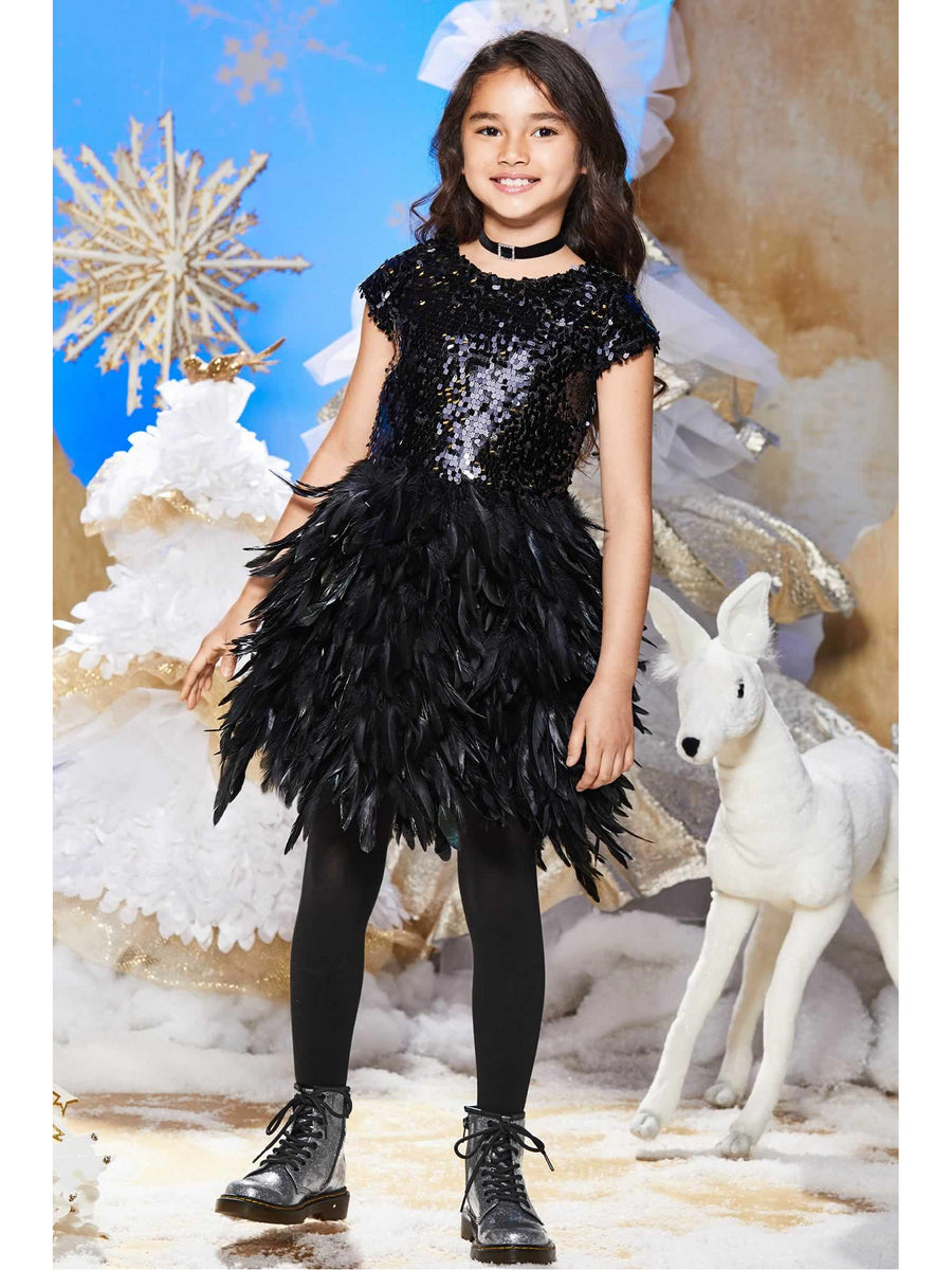 Girls Sequin Bodice Feather Dress